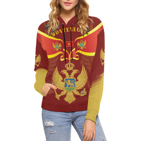Montenegro Hoodie With Coat of Arms - Red Color - For Women