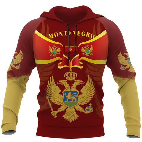 Montenegro Hoodie With Coat of Arms - Red Color - For Men And Women - Front