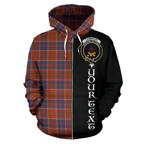 (Custom your text) Cameron of Lochiel Ancient Tartan Hoodie Half Of Me | 1sttheworld.com