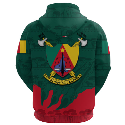 Image of Cameroon Zip Hoodie Lion Green K4