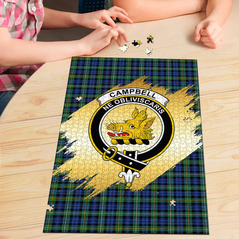 Image of Campbell Argyll Ancient Clan Crest Tartan Jigsaw Puzzle Gold