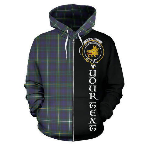 (Custom your text) Campbell Argyll Modern Tartan Hoodie Half Of Me | 1sttheworld.com