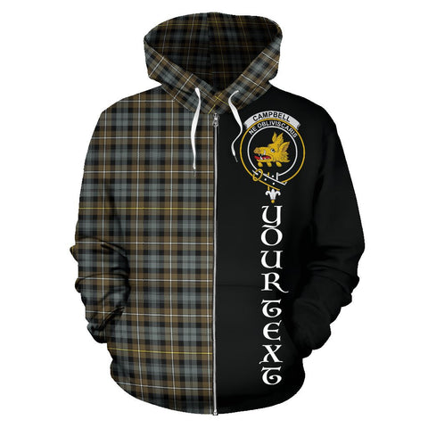 (Custom your text) Campbell Argyll Weathered Tartan Hoodie Half Of Me | 1sttheworld.com