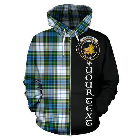 (Custom your text) Campbell Dress Ancient Tartan Hoodie Half Of Me | 1sttheworld.com