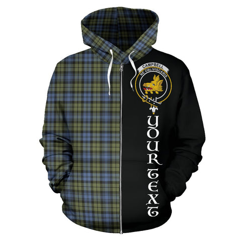 (Custom your text) Campbell Faded Tartan Hoodie Half Of Me | 1sttheworld.com