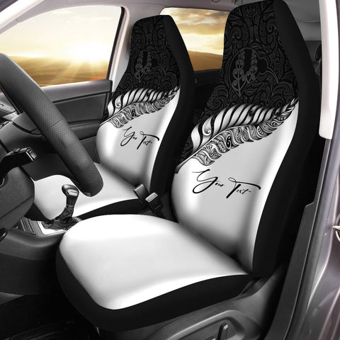 (Custom) New Zealand Car Seat Covers Silver Fern Kiwi Personal Signature A02