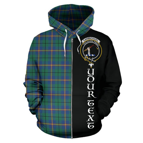 (Custom your text) Carmichael Ancient Tartan Hoodie Half Of Me | 1sttheworld.com