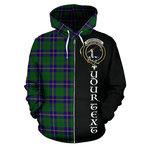 (Custom your text) Carmichael Modern Tartan Hoodie Half Of Me | 1sttheworld.com