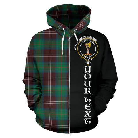 (Custom your text) Chisholm Hunting Ancient Tartan Hoodie Half Of Me | 1sttheworld.com
