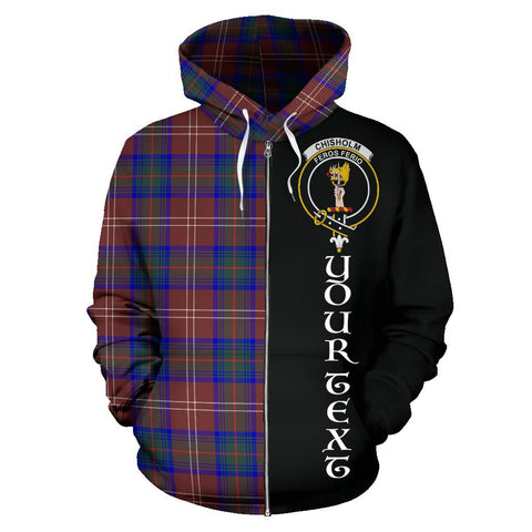 (Custom your text) Chisholm Hunting Modern Tartan Hoodie Half Of Me | 1sttheworld.com