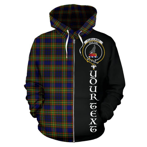 (Custom your text) Clelland Modern Tartan Hoodie Half Of Me | 1sttheworld.com