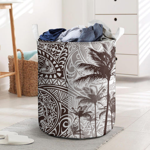 Image of Polynesian Laundry Basket Coconut Tree Brown I Love The World