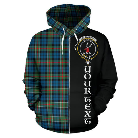 (Custom your text) Colquhoun Ancient Tartan Hoodie Half Of Me | 1sttheworld.com