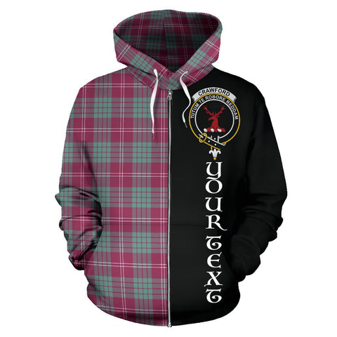 (Custom your text) Crawford Ancient Tartan Hoodie Half Of Me | 1sttheworld.com
