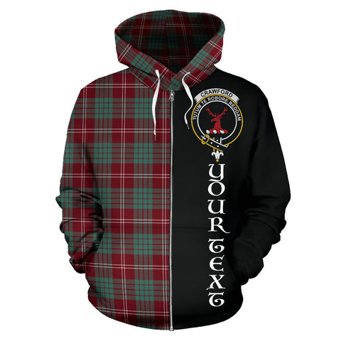 (Custom your text) Crawford Modern Tartan Hoodie Half Of Me | 1sttheworld.com