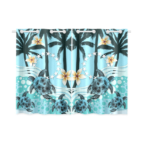 Image of Cook Islands Window Curtain - Blue Turtle Hibiscus | Love The World