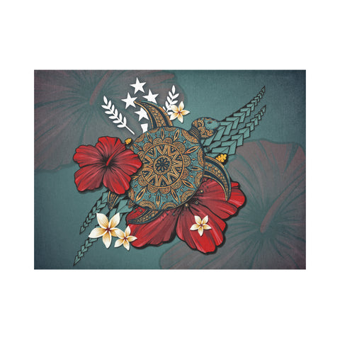 Kosrae Placemat - Blue Turtle Tribal A02