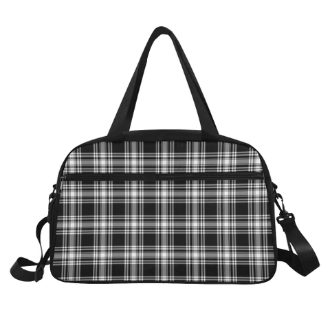 Menzies Black & White Modern Tartan Fitness Bag | Sport Bags | Scotland Bag