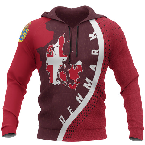 Denmark Hoodie - Denmark Map Hoodie Generation II - Dark Red - Front - For Men and Women