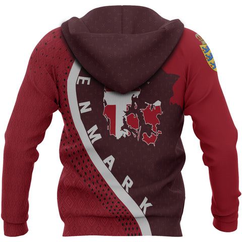 Denmark Hoodie - Denmark Map Hoodie Generation II - Dark Red - Back - For Men and Women