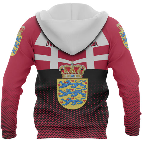 Denmark Hoodie - Denmark Victory Hoodie Classic Version - Red Mix - Back - For Men and Women