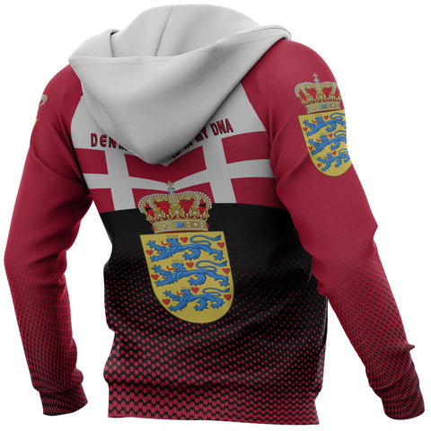 Denmark Hoodie - Denmark Victory Hoodie Classic Version - Red Mix - Back and Sleeve - For Men and Women