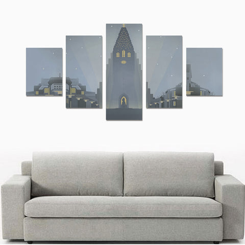 Iceland Hallgríëí__mskirkja Keykjavik 5 Piece Framed Canvas(No Frame) th9