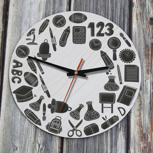 Education Symbols Back To School Wooden Wall Clock J8