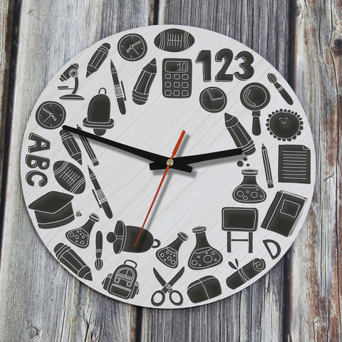 Education Symbols, Back To School,Education Symbols Wooden Wall Clock, Back To School Wooden Wall Clock, Education Symbols Back To School Wooden Wall Clock, Wooden Wall Clock