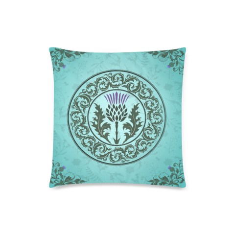 Scotland Cushion - Green Thistle Zippered Pillow Cover | HOT Sale