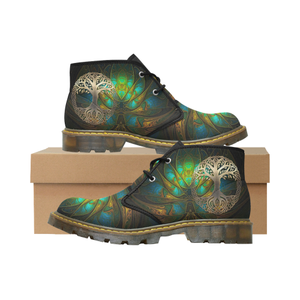 Celtic Nubuck Chukka Boots - Luxury Golden Celtic Tree A7