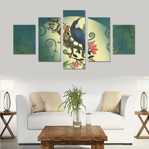 New Zealand Tui Bird Silver Fern 5 Piece Framed Canvas 02 k7 (No Frame)