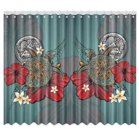 American Samoa Window Curtain - Blue Turtle Hibiscus A24