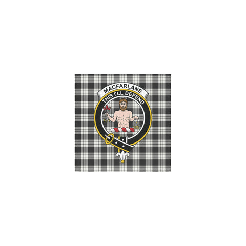 MacFarlane Black & White Ancient Tartan Towel Clan Badge | 1sttheworld.com