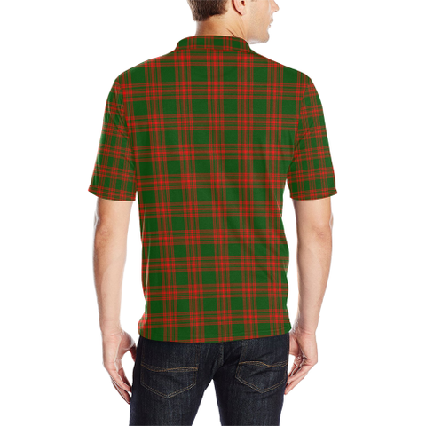 Menzies Green Modern Tartan Clan Badge Polo Shirt HJ4