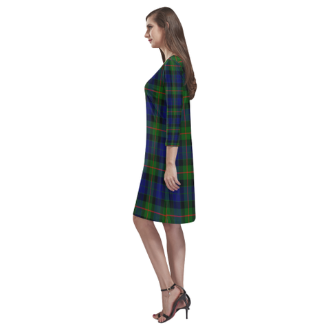 Image of Gunn Modern Tartan Dress - Rhea Loose Round Neck Dress - BN
