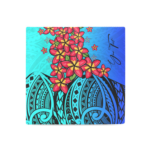 Image of (Custom) Polynesian Plumeria Blue Wallet Women Personal Signature A24