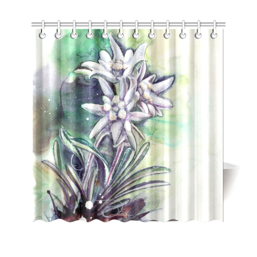 Switzerland Edelweiss Watercolor Shower Curtain A1 Tap To Expand