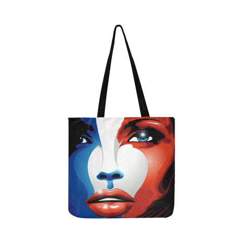 Image of FLAG OF FRANCE PORTRAIT REUSABLE SHOPPING BAG A2