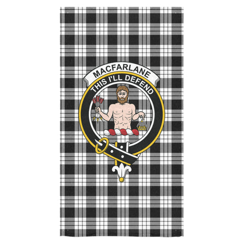 MacFarlane Black & White Tartan Towel Clan Badge NN5