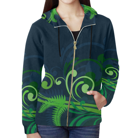 New Zealand Fern Zipped Hoodie | Special Custom Design