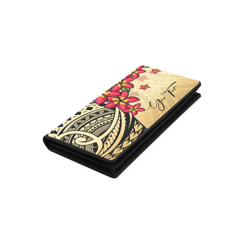 Image of (Custom) Polynesian Plumeria Gold Wallet Women Personal Signature A24