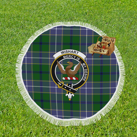 WISHART HUNTING CLAN BADGE TARTAN BEACH BLANKET th8