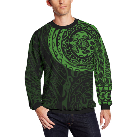 Polynesian Tattoo Style Sweatshirt - Green A7