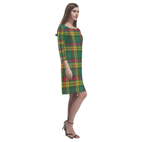 Macmillan Old Ancient Tartan Dress - Rhea Loose Round Neck Dress NN5