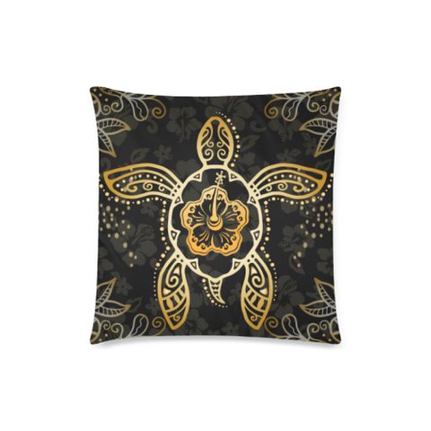 Hawaiian Golden Hibiscus and Turtle Pillow Cover