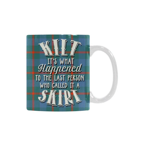Image of AGNEW ANCIENT TARTAN QUOTE WHITE MUG HJ4