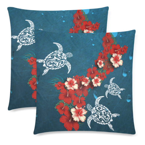 Guam Pillow Covers - Hibiscus and Turtle NN2