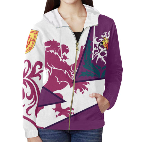 Image of Scotland Zip Up Hoodie - Scottish Royal Lion 1990s - Purple - Front - For Women