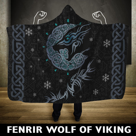 Viking Hooded Blanket - Fenrir Wolf A9